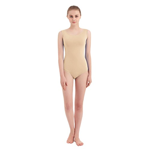 Women's Scoop Neck Lycra Spandex Sleeveless Tank Leotard (X-Large, Nude)