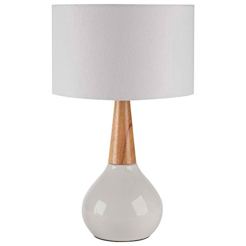 Table Lamp / Desk Lamp, Mid-Century/Contemporary Evan Table Lamp in Wood Finish, 18.5 inches high x 11 inches wide x 11 inches deep