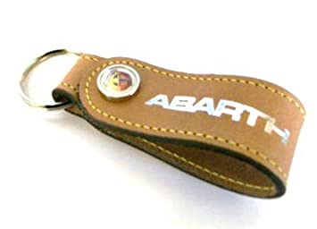 Genuine Tan Leather Abarth Keyring 46004886: Amazon.co.uk: Car ...