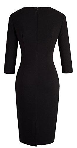HOMEYEE - Vestido - ajustado - para mujer Apricot+Black