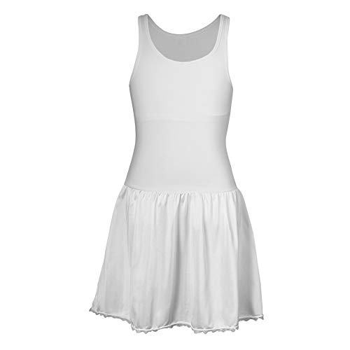 Sash Sleeveless Dress Slip with Built in Crop Top for Teen Girls - 95% Cotton, 5% Lycra Top (12, White)