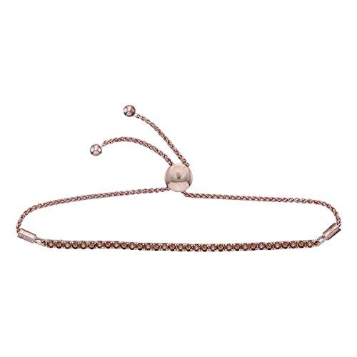 Roy Rose Jewelry 10K White Gold Ladies Red Colored Diamond Bolo Bracelet 2 Carat tw 2ct Tw Diamond Setting