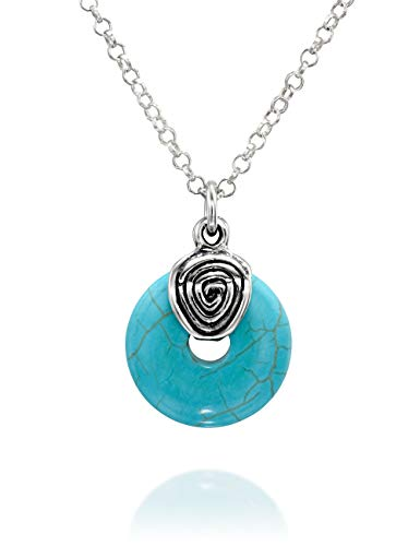 Wheel Shaped Compressed Turquoise Pendant Vintage Style 925 Sterling Silver Necklace, 18