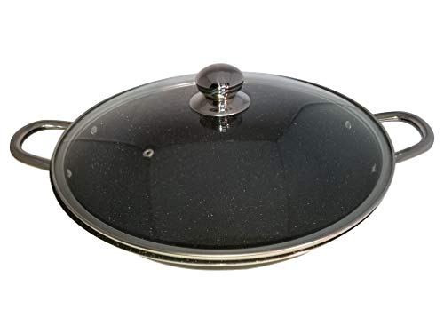 S and Co Non-Stick No Wrap Frying Pan (14 Inch) With Tempered Glass Lid PFOA Free Scratch Proof, Dishwasher