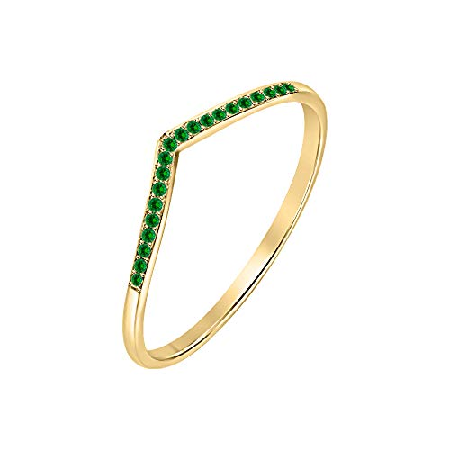 RUDRAFASHION .925 Sterling Silver 0.25ctw Green Emerald 14K Yellow Gold Plated Curved Stackable Half Eternity Wedding Band Ring for Womens