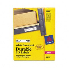 """Avery Dennison Durable ID Labels,Laser,Permanent,5/8""""X3"""",1600/Box,White"""