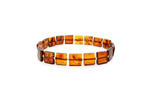 Genuine Natural Baltic Cognac Amber Stretch Bracelet For - Glass Amber Bracelet