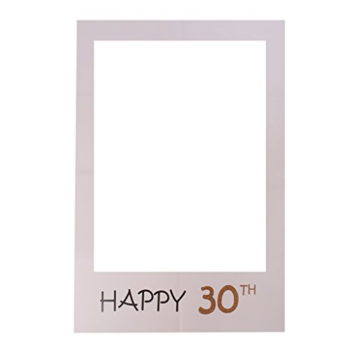 Dovewill Happy 30th Birthday Anniversary Social Media Selfie Frame Photo Booth Prop Accessories