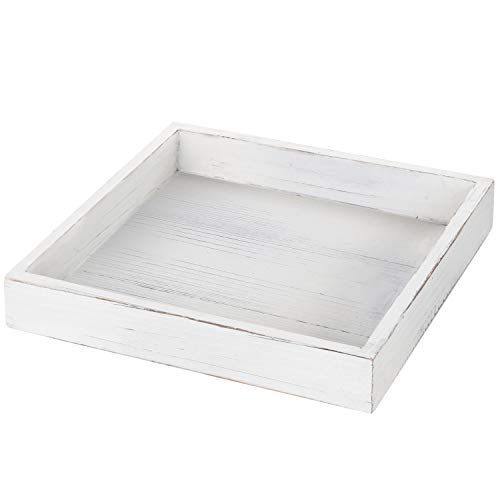 MyGift 10-Inch Square Vintage White Wood Serving Tray ()