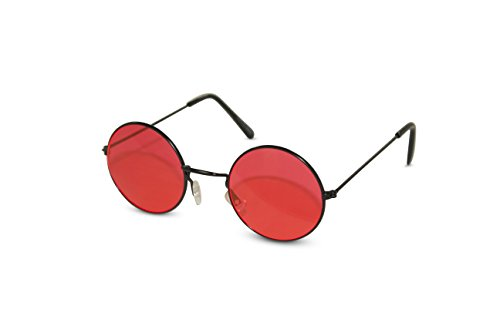 John Lennon Sunglasses Round Hippie Shades Retro Colored Lenses Retro Party (Black frame w/ Red - Glasses Round Red