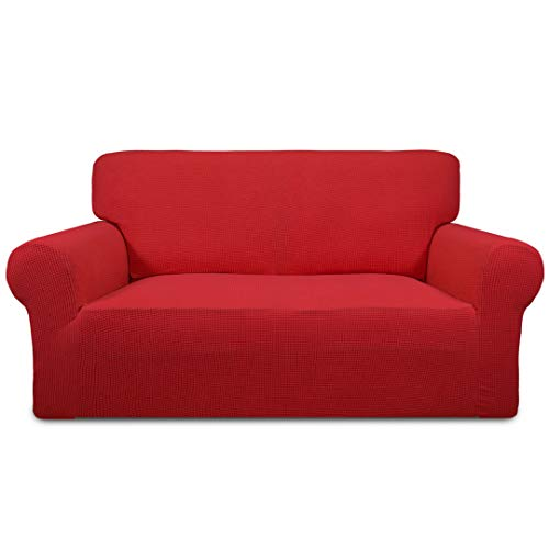 Easy-Going Stretch Sofa Slipcover 1-Piece Sofa Cover Furniture Protector Couch Soft with Elastic Bottom Kids,Polyester Spandex Jacquard Fabric Small Checks(Loveseat,Christmas Red) (Red Couch Cushions)