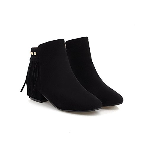 AllhqFashion Womens Low-Top Solid Zipper Square Closed Toe Low-Heels Boots Black RIlJy