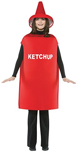 UHC Women's Ketchup Bottle Comical Theme Party Adult Halloween Costume, (Ketchup Bottle Halloween Costume)
