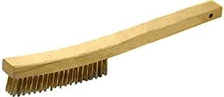 "product image for GORDON BRUSH 414BG Hardwood Long Curve Handle Scratch Brush, Brass Bristles, 4 x 19 Rows, 0.012"" Bristle Diameter, 1-1/8"" Trim, 13-3/4"" Length x 1-1/8"" Width Handle, 5-3/8"" Length x 3/4"" Width Face"