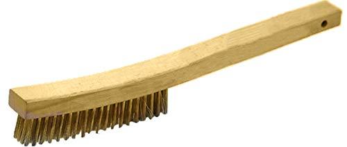Long Hardwood Handle - GORDON BRUSH 414BG Hardwood Long Curve Handle Scratch Brush, Brass Bristles, 4 x 19 Rows, 0.012