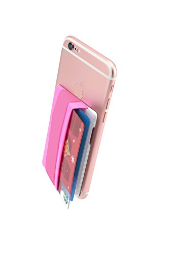 Sinjimoru Phone Grip Card Holder, Cell Phone Wallet Sticker for Back of Phone with iPhone Finger Gripper Storing Credit Cards, ID Holder Card Wallet. Sinji Pouch Band, Pink