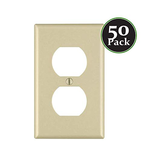 (Duplex 1-Gang Device Receptacle Wallplate,Standard Size,Mount,Wall Plates Kit, Home Electrical Outlet Cover, Unbreakable Material, Pack Dual Port Replacement Faceplates Covers Ivory Plastic One)
