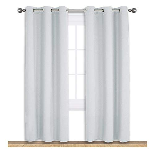 NICETOWN Room Darkening Window Curtain Panels, Easy Care Solid Thermal Insulated Grommet Room Darkening Draperies/Drapes Bedroom (2 Panels,42 72,Platinum-Greyish White) -