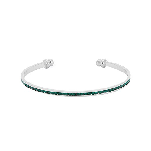 J Goodin Silvertone finish Classic Style Channel-Set Emerald Green Cubic Zirconia Cuff (Men Handband Stainless Steel compare prices)