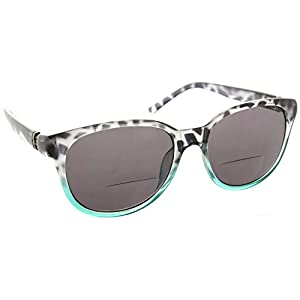 Womens Bifocal Sun Reader Sunglasses Fashion Trendy Readers Reading Glasses [Black/Teal, 1.25]