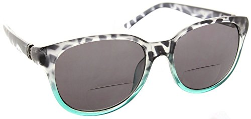 Womens Bifocal Sun Reader Sunglasses Fashion Trendy Readers Reading Glasses [Black/Teal, 2.25] (Readers Sun Reading)