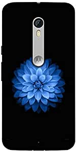 Snoogg Blue Lotus Designer Protective Back Case Cover For Motorola Moto X Style