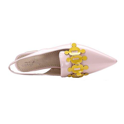 Sommer Spitzschuh On Frauen Schuhe Sandalen Mit Slingback Blockabsatz Slip Kleid Rosa YE HfpOq7w