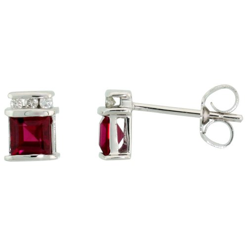 14k White Gold Square 4mm Princess Cut Created Ruby Stud Earrings Diamond accent 9/32 inch ()