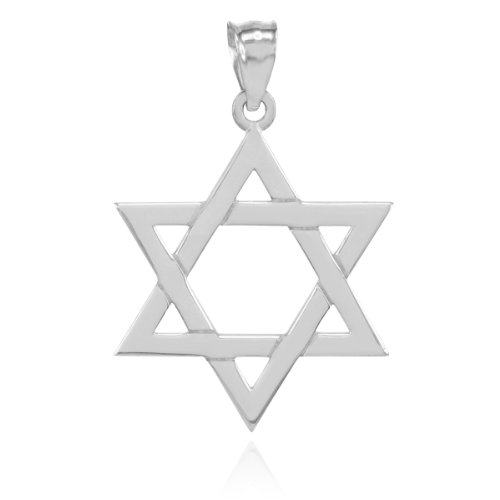 14k White Gold Jewish Charms - Solid 14k White Gold Traditional Jewish Star of David Charm Pendant (27.94 Millimeters)