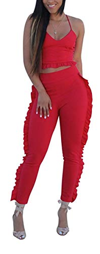 Sexy 2-Piece Sports top + for Women's spaghetii Sling Seven Points + Pleated mesh Long Pants Set(Red-X-Large)