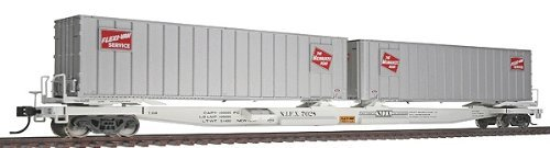 (Walthers Gold Line(TM) HO Scale Mark III Flexi-Van Flatcar  with Two Trailers Ready to Run Milwaukee Road #7028)