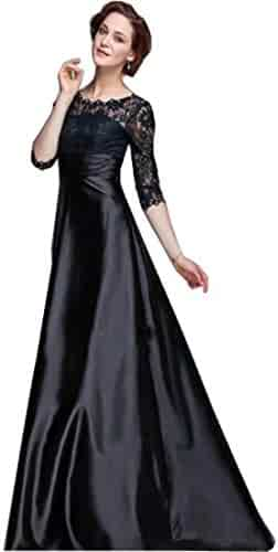 6941f3d2813 Chady Black Mother of The Bride Dresses Jewel Neck Lace Appliques Beads  Long Sleeve Evening Gowns