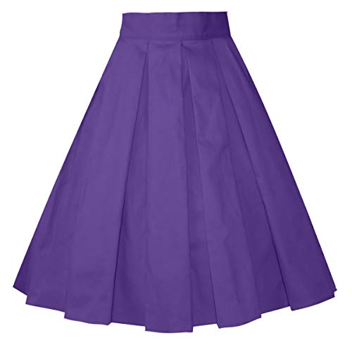 (Girstunm Women's Pleated Vintage Skirt Floral Print A-line Midi Skirts with Pockets Deep-Purple S )