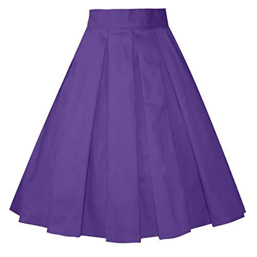 Girstunm Women's Pleated Vintage Skirt Floral Print A-line Midi Skirts with Pockets Deep-Purple XL