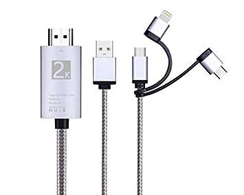 Cable Adaptador 3 en 1 HDMI, iluminación/Tipo-C/Micro USB a HDMI ...