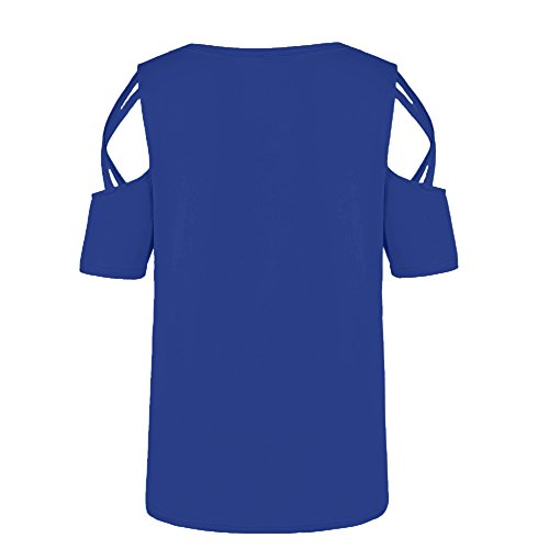 Vickyleb Women's Loose Strappy Tank Top Short Sleeve Shirts for Women Casual Print Blouse Shirt Cold Shoulder Tops Blue by Vickyleb Women Shirts (Image #3)