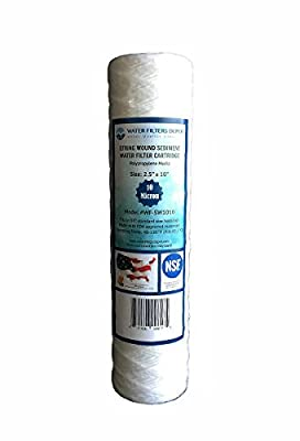 """WF-SW1010 2.5""""x10"""" String Wound Sediment Water Filter Cartridge by Water Filters Depot (WFD), Fits in 10"""" Standard Size Housings of Undersink RO or Filtration Systems (10 Micron)"""