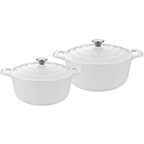 La Cuisine 4 Piece Enameled Cast Iron Covered Dutch Oven Set, White Review