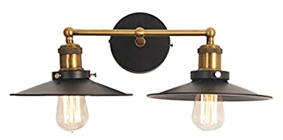 LightLady Studio - Industrial Wall Light - Double Industrial Wall Sconce - Farmhouse Lighting - Light Fixture with Black Shades - Vintage Style 2-Arm