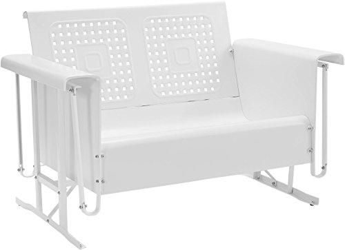 Crosley Furniture Bates Loveseat Glider - White (Vintage Glider Metal)