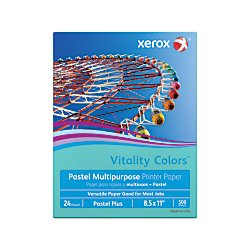 Xerox(R) Vitality Colors(TM) Pastel Plus Multipurpose Printer Paper, Letter Size, 24 Lb, 30% Recycled, Aqua, Ream of 500 Sheets by Xerox