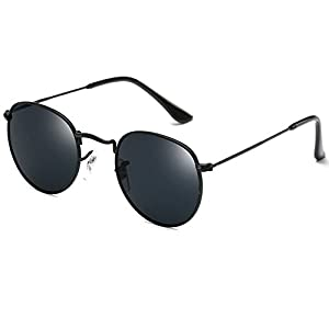Joopin-Men Retro Brand Polarized Sunglasses Women Vintage Round Sunglasses (Black, as the pictures)