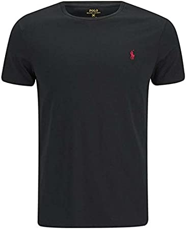 T shirt pour homme Ralph Lauren à manches courtes Taille S, Taille M, Taille L, Taille XL, Taille XXL, encolure ras du cou, Coton, noir, Small