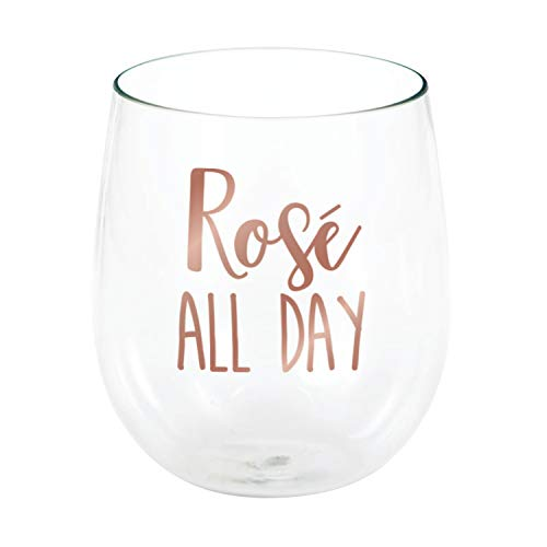 Creative Converting 340039 Rosé All Day Plastic Stemless Wine Glass, 14 oz, Clear