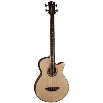 Luna LAB30TRIBAL Tribal Spruce Top Short Scale Acoustic Electric Bass Guitar, Rosewood Fretboard, Matte