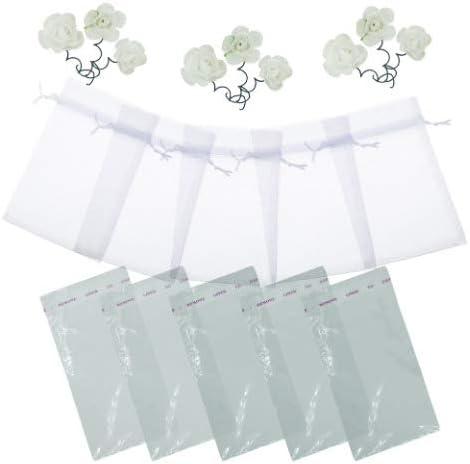 Multicolore xinfe 100pz Organza Sacchetti Buste Bianca Sacchettini Organza Portaconfetti per Confetti Matrimonio Bomboniere Battesimo Nascita 7cm*9cm