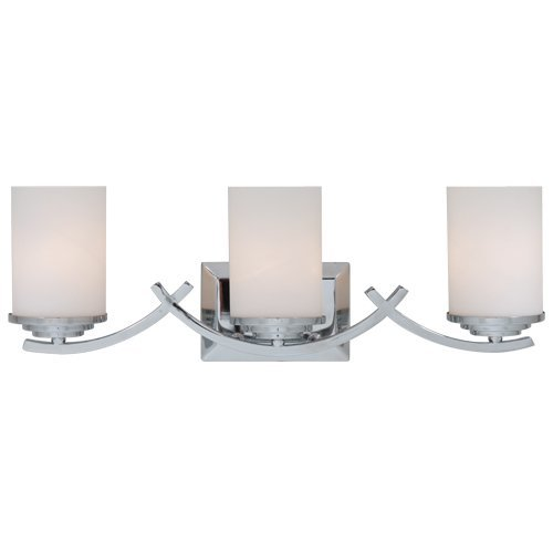 Y Decor L993C Modern, Transitional, Traditional 3 Light Bathroom Vanity Light Chrome Finish with White Glass Shade By Y Décor, Chrome, Silver