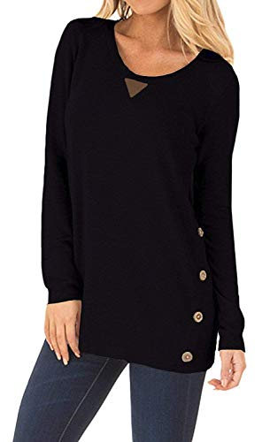 Yknktstc Womens Casual Long Sleeve Faux Suede Loose Tunic Button Blouses Shirt Tops Small Black ()