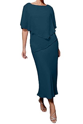 Partykleider Hundkragen Abendkleider La Etuikleider Chiffon Marie Braut Dunkel Blau Brautmutterkleider Damen HpqnnxT14w