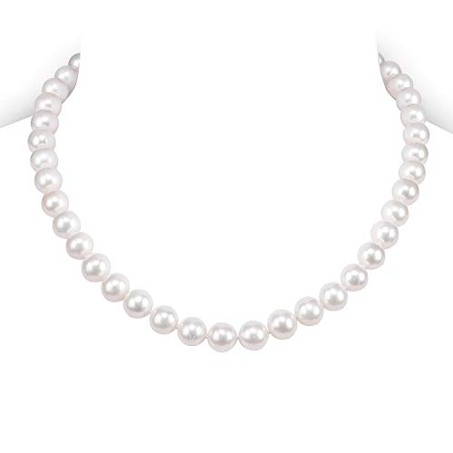 8mm Cultured Freshwater Pearl Necklace - PAVOI Sterling Silver White Freshwater Cultured Pearl Necklace (16, 8mm)